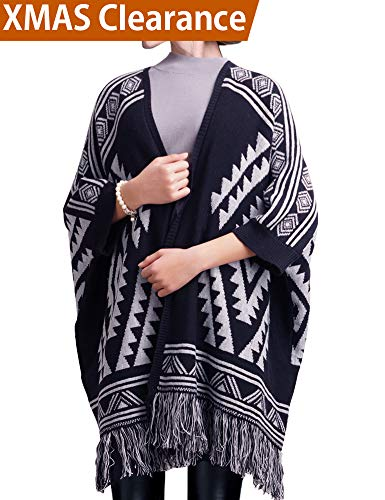 DELUXSEY Womens Aztec Cardigans - Fringe Poncho Sweater with Sleeves (Navy, M)