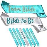 Team Bride 7pc Satin Sash Set - Sophisticated & Fun Party Favors for Bachelorette Party, Bridal Shower & Wedding Party (7pc Set, White & Teal)