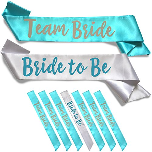 Team Bride 7pc Satin Sash Set - Sophisticated & Fun Party Favors for Bachelorette Party, Bridal Shower & Wedding Party (7pc Set, White & Teal) ()