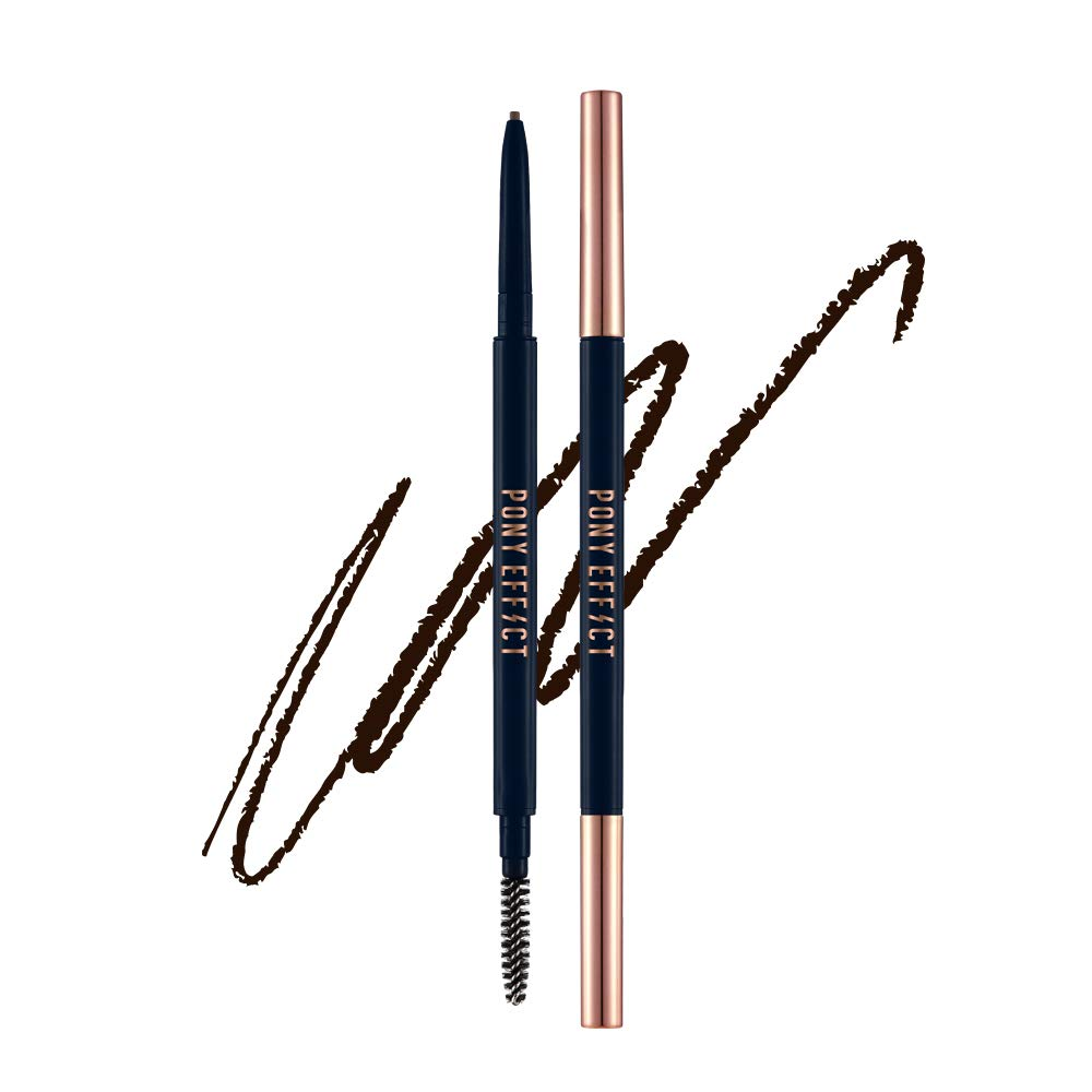 PONY EFFECT Sharping Brow Definer - Deep Brown | Precision, Long-lasting, Retractable Brow Pencil | Ultra Slim Eyebrow Pencil with 1.5mm Tip & Blending Spoolie | Korean Beauty