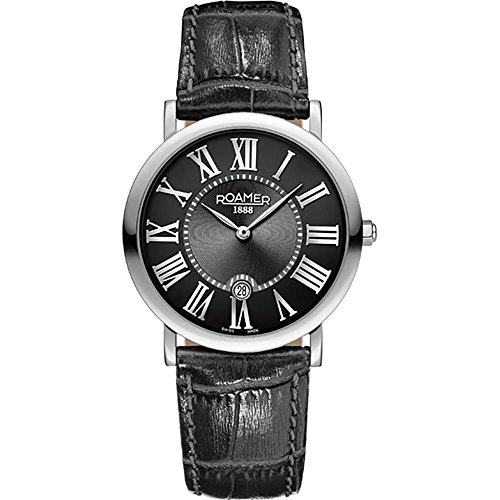 Roamer of Switzerland Unisex Limelight Set Black Leather Band Steel Case Quartz Watch 934000 41 51 SE