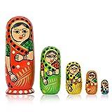 Toolart Set of 5 Pcs Hand Painted Cute Wooden Indian Women Nesting Dolls Popular Handmade Kids Gifts / Wooden Decoration Gift Dolls