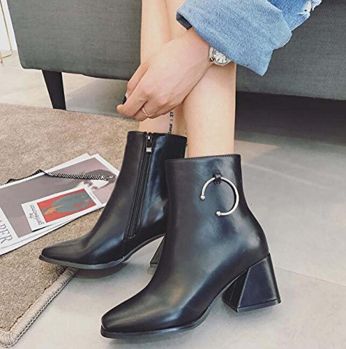 Mujeres Square Toe 4.5cm Chunkly Heel Martin Boots Metal Buckle Zipper Dress Boots Knight Boots Casual Boots Eu Tamaño 34-40 Black pu