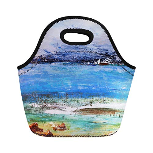 ch Tote Bag Abstract Coastal Waves Seascape Seaside Rendezvous Painting Pictorial Landscape Reusable Cooler Bags Insulated Thermal Picnic Handbag for Travel,School,Outdoors,Work ()