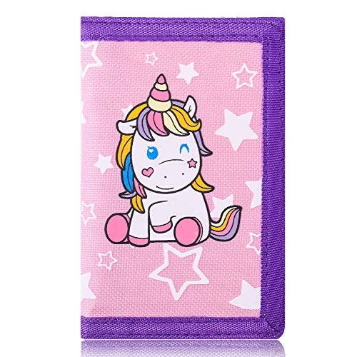 Trifold Canvas Outdoor cartoon Wallet for Kids - Unicorn