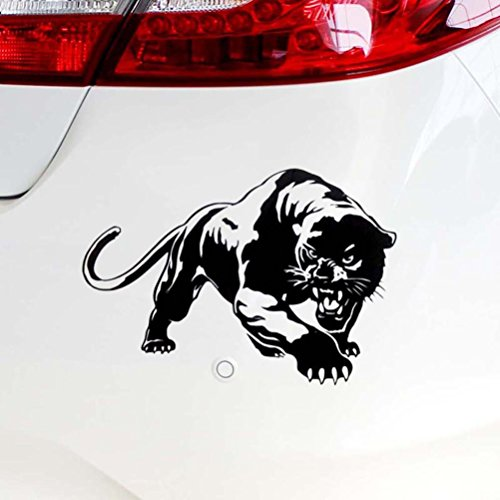 Iuhan Car Sticker Fiery Wild Panther Hunting Car Body Decal Car Stickers Motorcycle Decorations (Black) (Body Art Panthers)