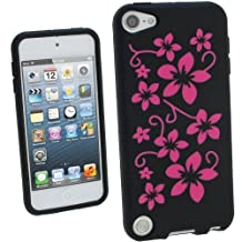 iGadgitz Black & Pink Flowers Silicone Skin Case Cover for Apple iPod Touch 6th Generation (July 2015 onwards) & 5th Generation (2012-2015) + Screen Protector