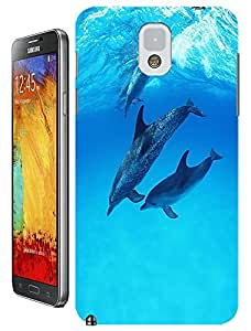 Group dolphins swimming under the Blue sea cell phone cases design for Samsung Galaxy N3