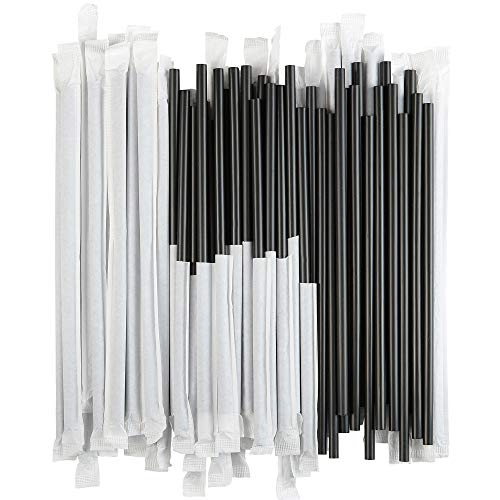 Disposable Plastic Drinking Straws - Individually Paper Wrapped (Black, 500) -