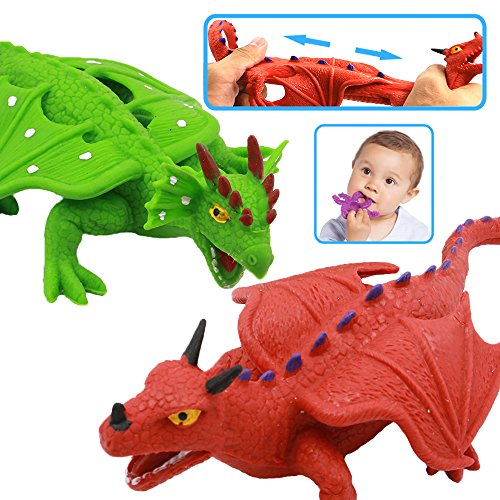 Dragon Toys,8 Inch Rubber Dinosaur Dragon Toys Set,Food Grade Material TPR Super Stretchy,ValeforToy Realistic Dragon Figure(Red&Green) Teething Bathtub Party Favors Learning Boy Kid Squishy Toys (Dinosaur Party Food)