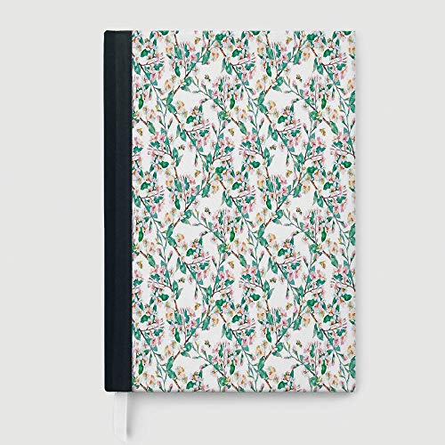 - Composition Book/Notebook,Flower,Notepad Student Award Gift Decorative Notebooks,Pink Cherry Blossoms Pattern with Bumble Bees Japanese Spring Themed Chic Print,96 Ruled Sheets,A5/8.24x5.73 in