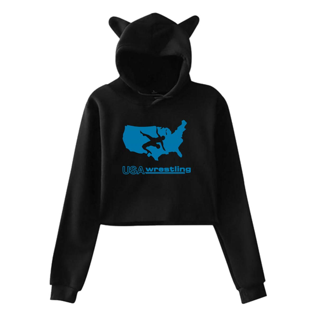 S-XXL Casual USA Wrestling Long Sleeve Tops Blouse Womens Cat Ear Crop Top Hoodie Sweater