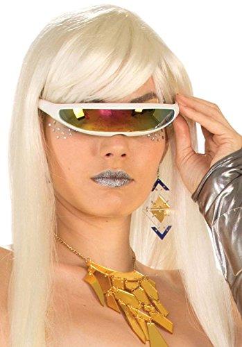[Mememall Futuristic White Cyborg Sunglasses Mirror Lense Robotic Cyclop Costume] (Cyclops Visor Costumes)