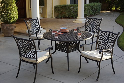 48' Round Cast (AC HOME & PATIO AC18-5PC-25C Amanda 5 Piece Round Dining Table with Seat Cushion, 48