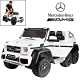 Licensed Mercedes Benz AMG G63 6x6 Electric Ride On Car for Kids with 2.4G Remote Control, 12V 6 Motors, Parent Seat, Openable Doors, Leather Seat, USB MP3 Player, LED Bottom and Wheel Light -White
