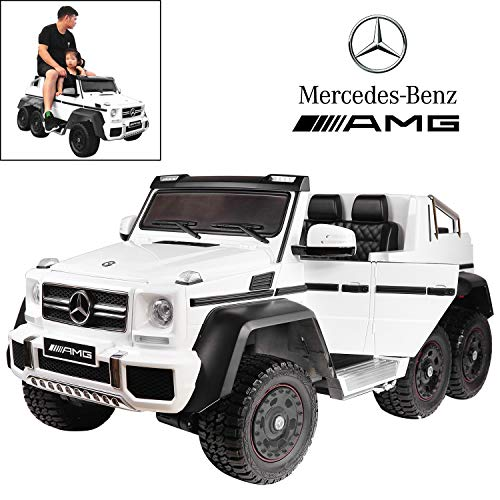 Licensed Mercedes Benz AMG G63 6×6 Electric Ride On Car for Kids with 2.4G Remote Control, 12V 6 Motors, Parent Seat, Openable Doors, Leather Seat, USB MP3 Player, LED Bottom and Wheel Light -White