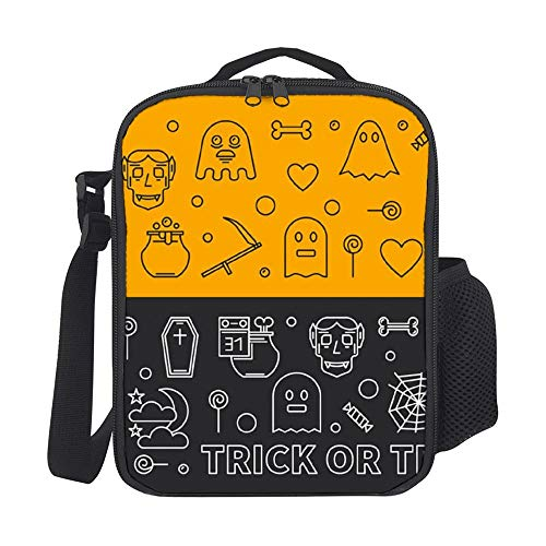 SARA NELL Insulated Halloween Banners Outline 31 Oct Holiday Lunch Bag Tote with Detachable Adjustable Shoulder Thermal Waterproof Large Capacity Outdoor Picnic Lunch Box for Kids Teens Adults]()