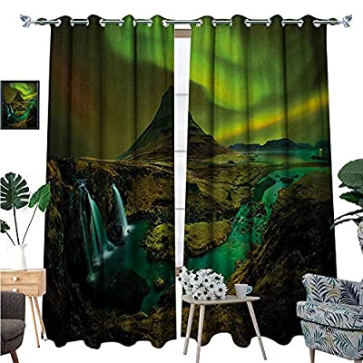 BlountDecor Aurora Borealis Room Darkening Wide Curtains Pale Weather Over The Hills with Waterfall Creek Nature Landscape Decor Curtains by W72 x L96 Fern and Olive Green