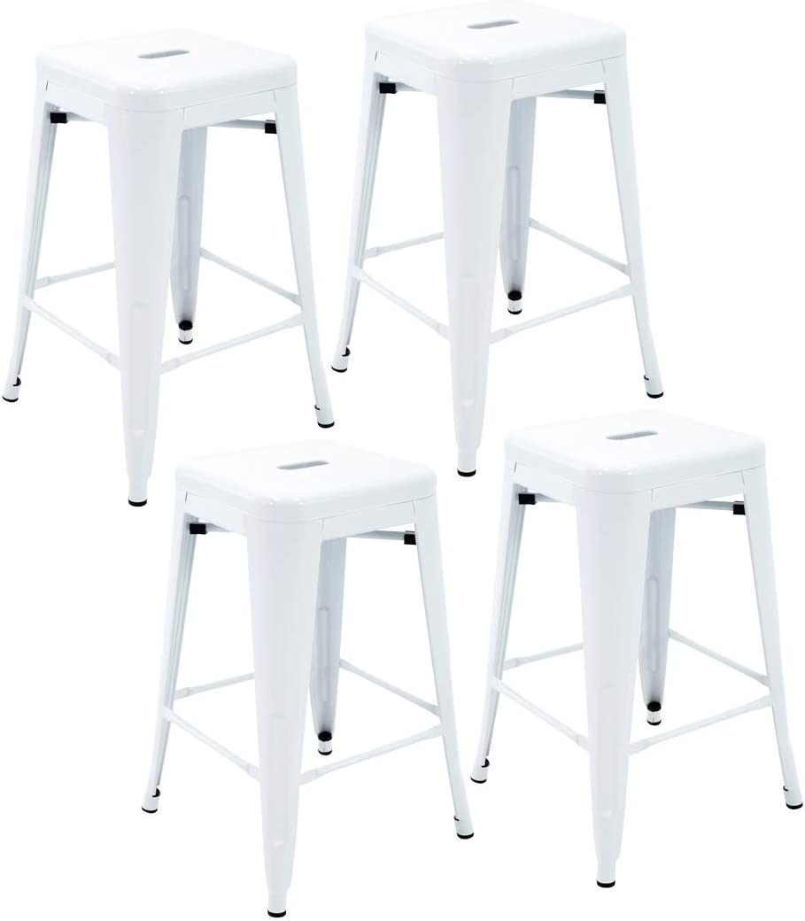 Porthos Home Stackable Indoor Outdoor Metal Patio Counter, 24 Seat Height Set of 4 Bar Stools, One Size, White