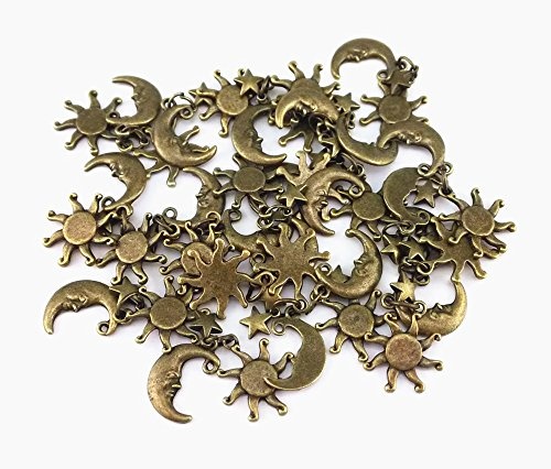 yueton 20pcs Vintage Bronze Sun Moon Star Pendant Findings, DIY Crafts Jewelry Making Charms - Findings Charms Star
