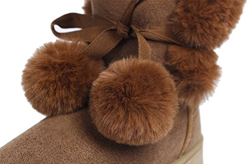Shoes Thick Camel Winter Slip on Sole AgeeMi Faux Fur Classic Warm Women's Snow Boots aHgzwqnd