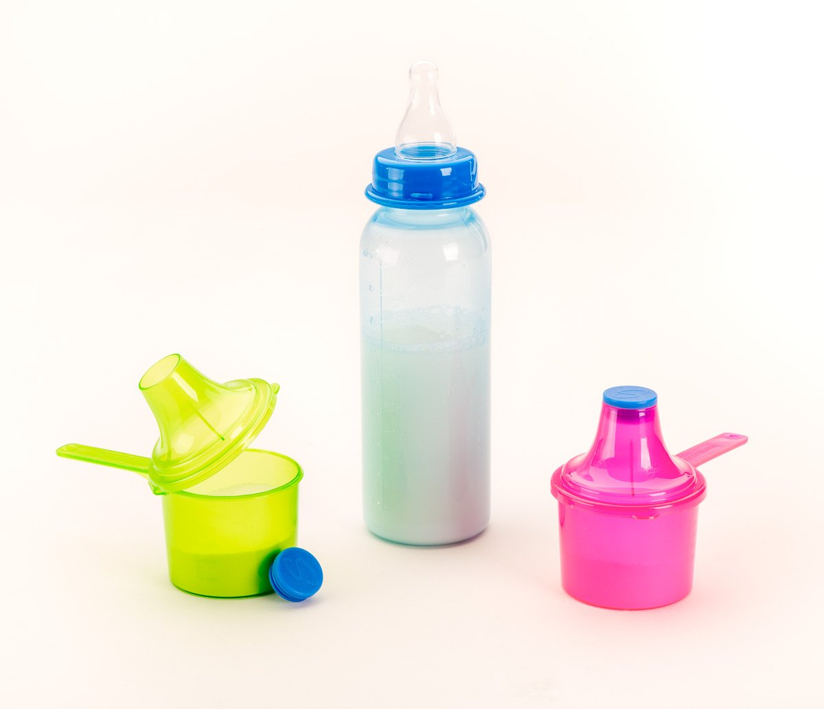 Scoopie 3 Pack Portable Baby Formula Dispenser - #1 Mommy Approved BPA Free Scoop with Funnel Powder Container for Baby Bottles and Water Bottles - (Blue)