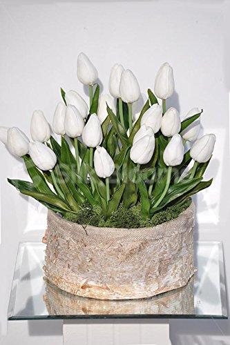 Amazon.de: Weiße Tulpen mit Blumen-Arrangement in der Vase, rund, Moos