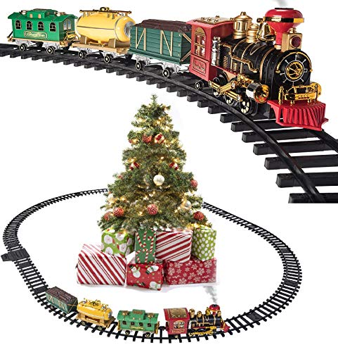 Prextex Christmas Train Set- Around The Christmas Tree with Real Smoke, Music & Lights (Tree Christmas Train On Track)