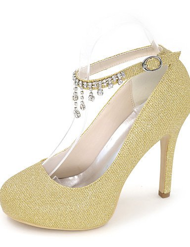 GGX/ Damen-High Heels-Hochzeit / Kleid / Party & Festivität-Glanz-Stöckelabsatz-Rundeschuh-Schwarz / Blau / Rot / Silber / Gold 4in-4 3/4in-golden