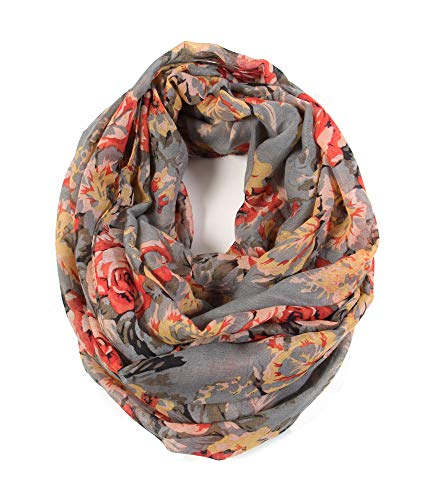 (Scarfand's Romantic Rose Print Lightweight Infinity Scarf (Bouquet Rose Gray))
