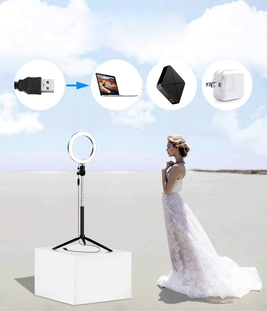 XYSQWZ LED Ring Light 6 Inch with Tripod Dimmable Ring Light 3 Color Modes and 10 Brightness USB Powered Phone Holder for YouTube Videos and Makeup