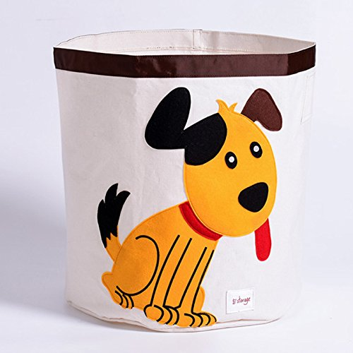 Lqchl Cartoon Canvas Animal Design Storage Basket For Toys Kids Room Folding Sundry Laundry Basket Dirty Clothes Storage ,Dog