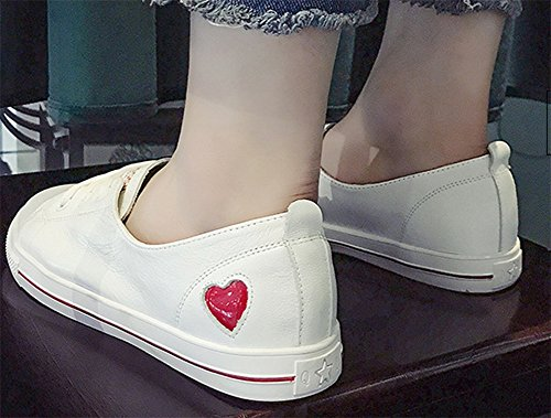 xie Cuir Blanc Chaussures Femme Été Printemps Automne Plat Chaussures Casual étudiants Polyvalent en Cuir Amour Chaussures 35-39 Red tAiET4X8