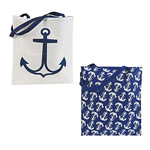 Nautical Anchor Tote Bags Set of 2 Totes White and Navy Shopping Beach Boat Ocean Sailing Day (Anchor Tote Bag)