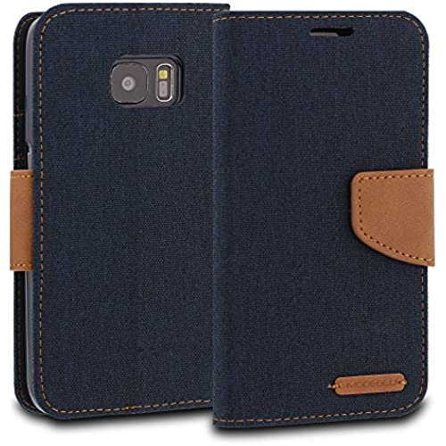 Galaxy S7 Case, ModeBlu [Pocket Diary Series] [Navy] Wallet Case ID Credit Card Cash Slots Premium Canvas [Stand Sales