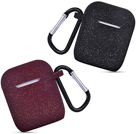 AIRSPO Airpods Case Silicone Case for AirPods Charging Case 2 & 1 [Front LED Visible] Bling Glitter Luxury Shockproof Protective Cover Skin with Anti-Lost Carabiner (Black+Burgundy) 51hRYwXPf5L