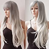 S-noilite 28'' Long Wavy Full Wigs With Bangs Ombre Two Tone Dyeing Color Synthetic Hair Anime Costume Cosplay Wig for Women Ladies Girls (Ombre Silver-White Mix)