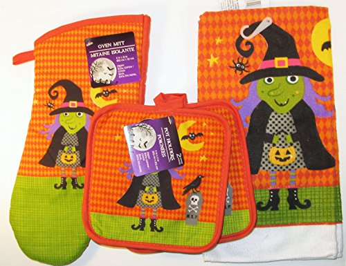 Halloween Frankenstein Set of Kitchen 1 Towel, 1 Oven Mitt a