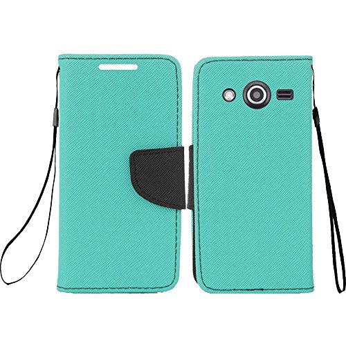 LF 4 in 1 Bundle - Flip Wallet Credit Wallet Cover Case, Lf Stylus Pen, Screen Protctor & Wiper Compatible with (T-Mobile) Samsung Galaxy Avant G386T (Wallet Teal)