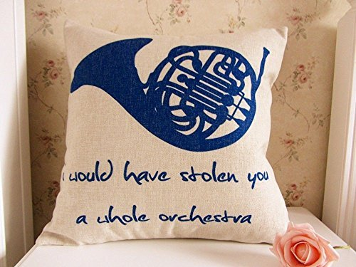 Blue Pillow French - 45 x 45CM How I Met Your Mother Blue French Horn Linen Cushion Cover Pillowcase ;FW892HJT23T425265