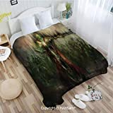 PUTIEN Unique Rectangular Flannel Blanket Death King Leading His Army Sword Demon Ghost Revenge Battlefield Print Blanket for Home(49Wx78L)