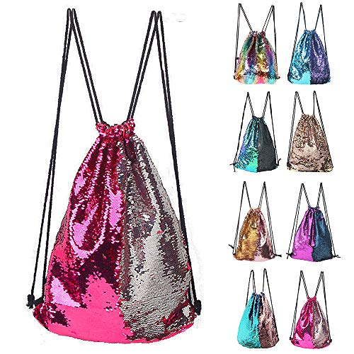 Winmany Mermaid Sequin Backpack Glittering Outdoor Shoulder Bag, Magic Reversible Glitter Drawstring Backpack, Fashion Bling Shining Dance Bag, Sports Backpack Bag, 17.7''x13.8', Rose Silver