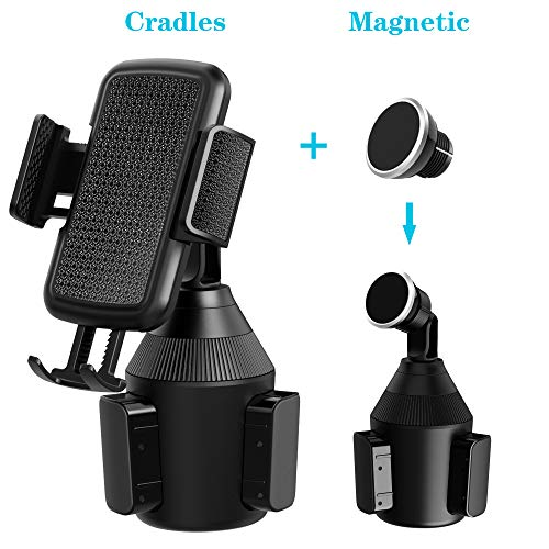VABSCE Cup Holder Phone Mount, Universal Adjustable Cup Holder Cradle Car Phone Magnetic Mount Compatible with iPhone Xs Xs Max X 8 7 Samsung Galaxy S9 S8 S7 Note8 Note9 Huawei HTC LG