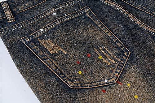 Skinny 803 Fit Jeans Estivi Elasticizzati Slim Uomo Missmaom Strappato Denim Strappati g1wT7xq