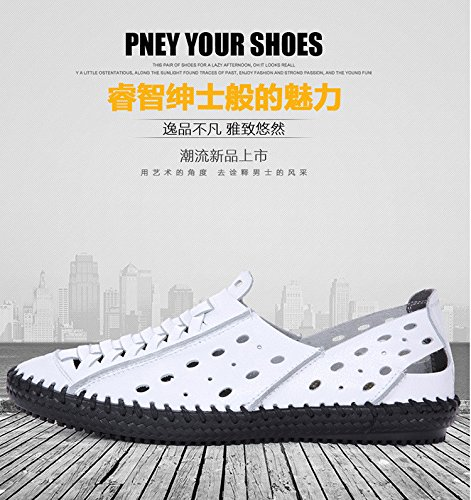 Männer hohle atmungsaktive Ledersandalen Herren Hand-genähte Herrenschuhe in den jungen Freizeit Erbsen Schuhe. Weiß .UK = 7,6 = 40 2/3