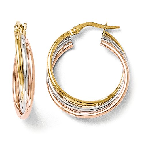 5mm Medium Earrings Hoop (5mm Triple Crossover Hoops in 14k Tri-Color Gold, 22mm (7/8 Inch))