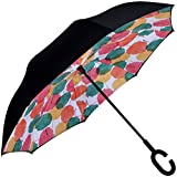 Marino Inverted Umbrella - Reverse Folding Inside Out Upside Down Umbrella - Rain Unbreakable Windproof Umbrella - UV Protection - Coloful Leafs