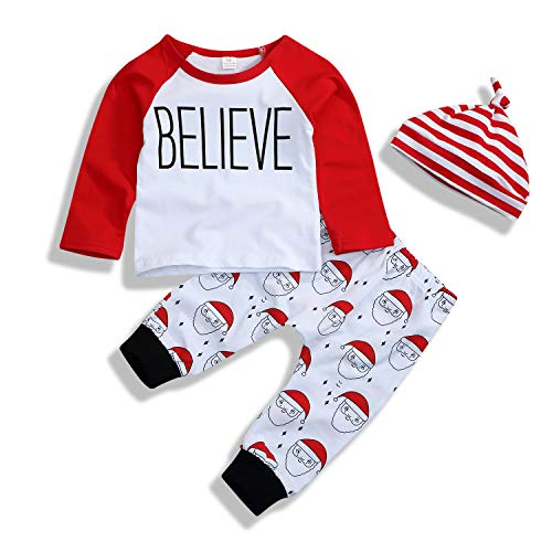 Younger star Christmas Outfit Baby Boy Santa Outfit Long Sleeve Romper Long Pants Clothing Set (Red, 12-18 Months)]()