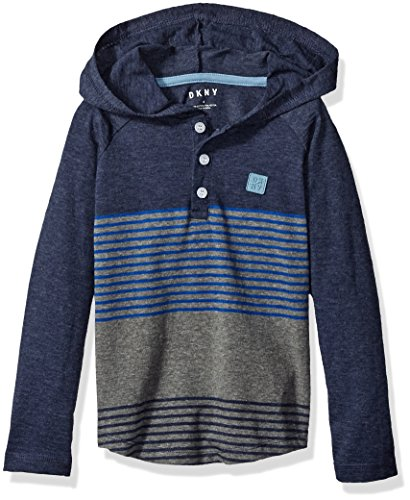 DKNY Little Boys' Long Sleeve Color Block and Stripe Hooded Henley Shirt, Peacoat, 4 by DKNY