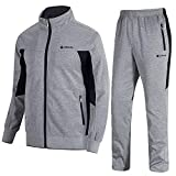 TBMPOY Men's 2 Piece Jacket & Pants Woven Warm Jogging Gym Activewear(Grey,US XXL)